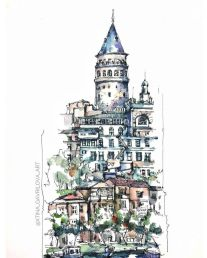 Sketch Watercolor by Гаврилова Кристина (@xtina_gavrilova_art) в Instagram_ «Galata tower in Istanbul sketch #aquarell #art #painting #watercolor #sketch #paint #drawing #sketching #sketchbook #travelboo